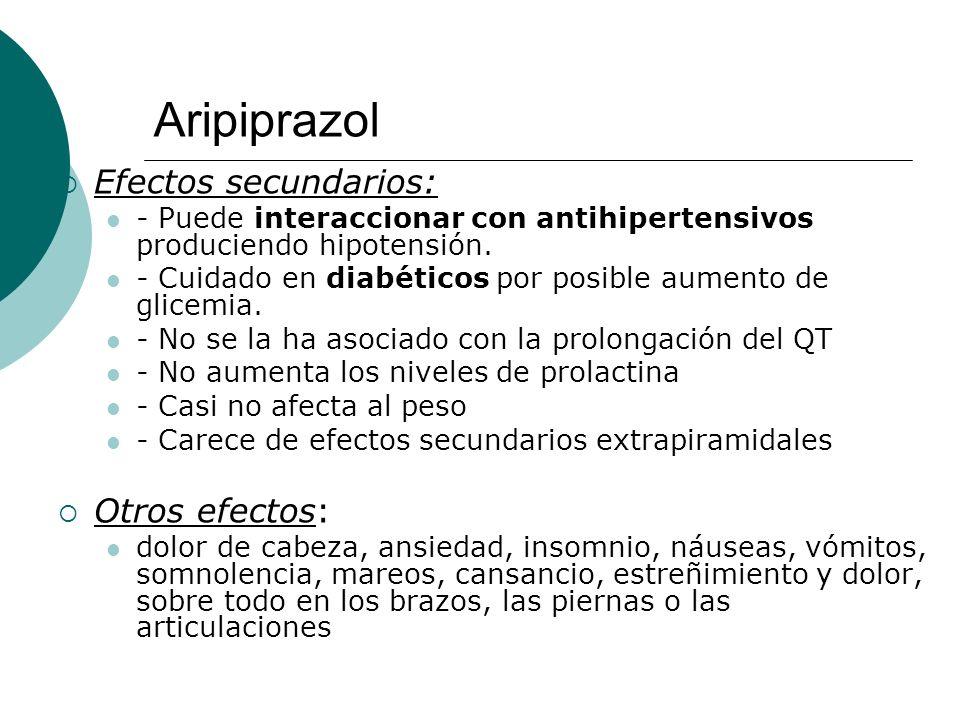 Aripiprazol Efectos secundarios: - Puede interaccionar con antihipertensivos produciendo hipotensión. - Cuidado en diabéticos por posible aumento de g