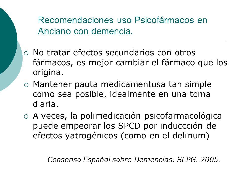 Recomendaciones uso Psicofármacos en Anciano con demencia. No tratar efectos secundarios con otros fármacos, es mejor cambiar el fármaco que los origi