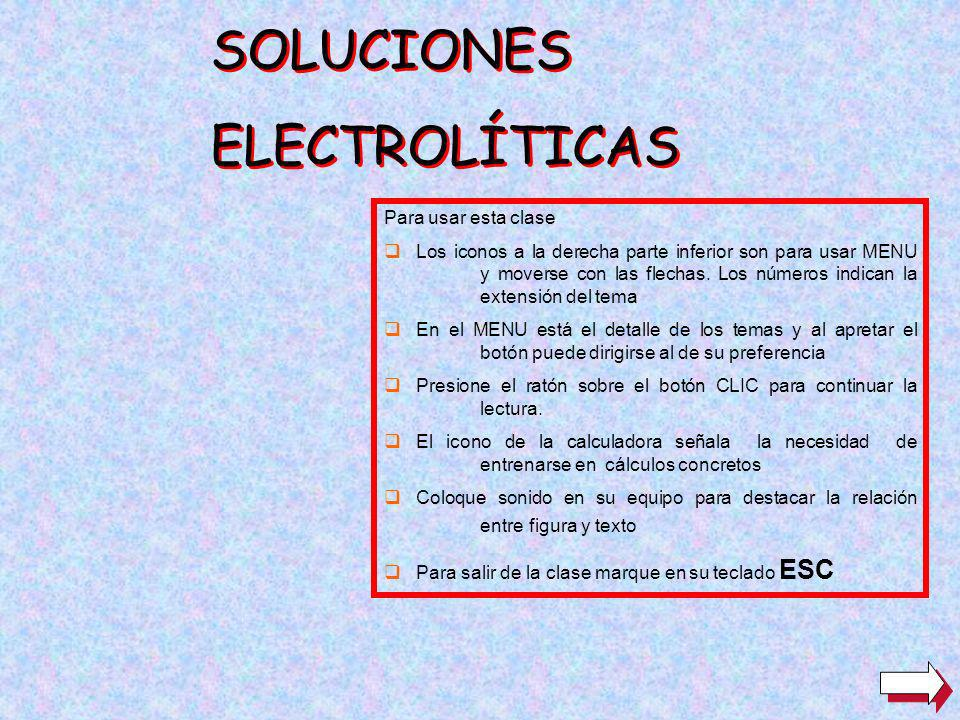 SOLUCIONES ELECTROLÍTICAS SOLUCIONES ELECTROLÍTICAS Para usar esta clase Los iconos a la derecha parte inferior son para usar MENU y moverse con las flechas.