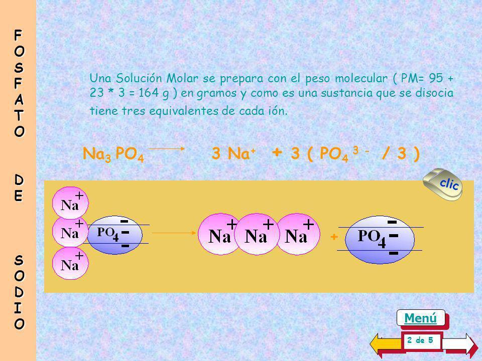 Hay moléculas de mayor complejidad en su estructura como son, por ejemplo los fosfatos ( PO 4 3- ) compuestos por un ión de tres valencias 1 Equivalen