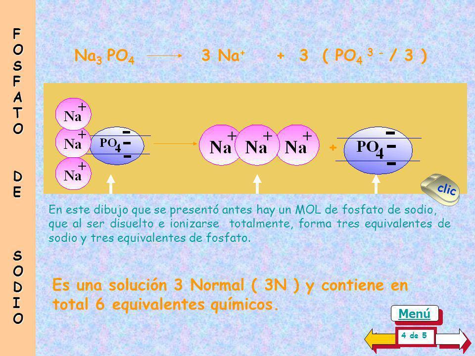 Para producir una Solución Normal ( 1N ) de fosfato de sodio, es necesario un equivalente de sodio y un equivalente de fosfato. Es por ello que se deb