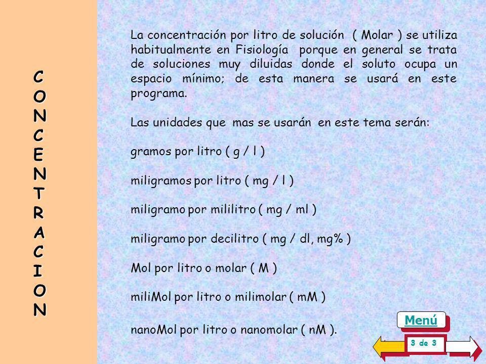 CONCENTRACIONCONCENTRACIONCONCENTRACIONCONCENTRACION La concentración ( c ) de una sustancia sólida, líquida o gaseosa en una solución depende de la m