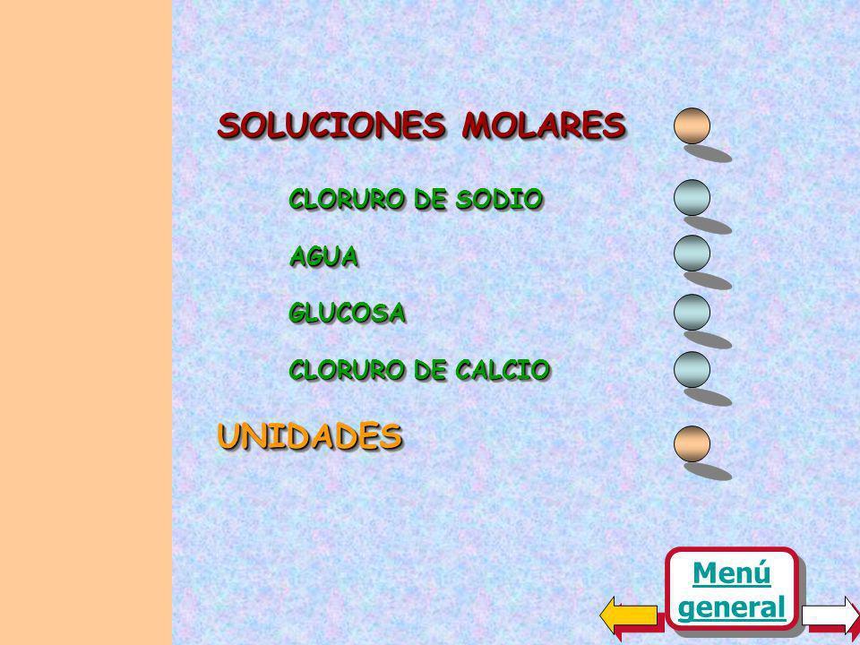 SOLUCIONES MOLARES CLORURO DE SODIO AGUAAGUA UNIDADESUNIDADES CLORURO DE CALCIO GLUCOSAGLUCOSA Menú general Menú general