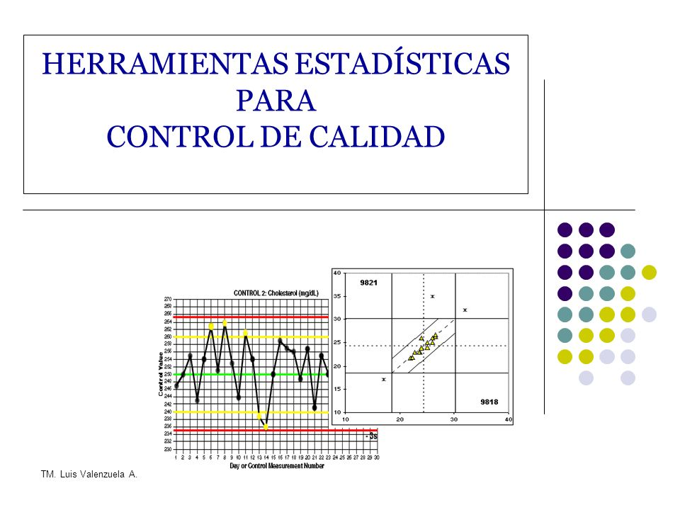 TM. Luis Valenzuela A. HERRAMIENTAS ESTADÍSTICAS PARA CONTROL DE CALIDAD