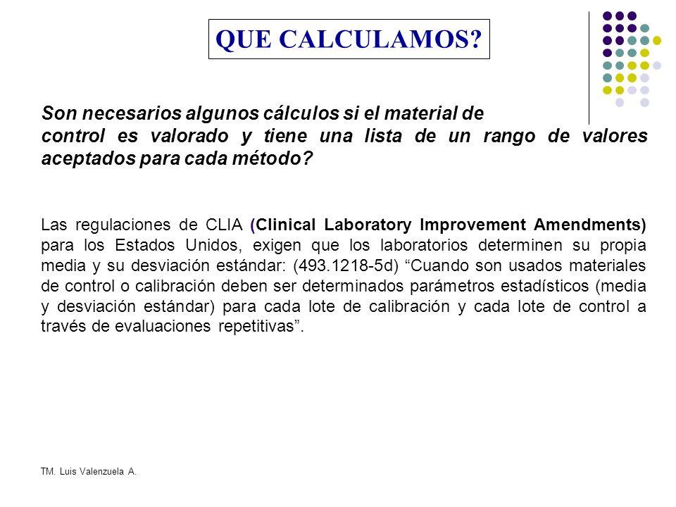 TM. Luis Valenzuela A. SISTEMAS MULTIREGLAS DE CONTROL DE CALIDAD REGLAS DE WESTGARD