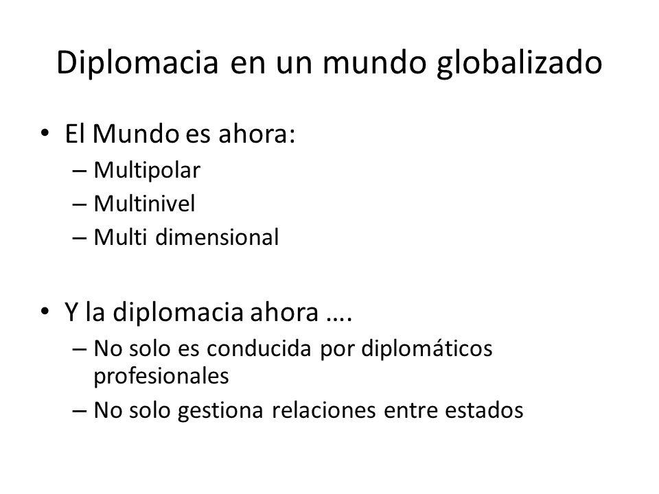 Diplomacia en un mundo globalizado El Mundo es ahora: – Multipolar – Multinivel – Multi dimensional Y la diplomacia ahora …. – No solo es conducida po