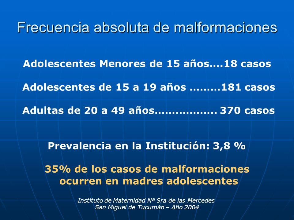 Instituto de Maternidad Nª Sra de las Mercedes San Miguel de Tucumán – Año 2004 Adolescentes Menores de 15 años….18 casos Adolescentes de 15 a 19 años
