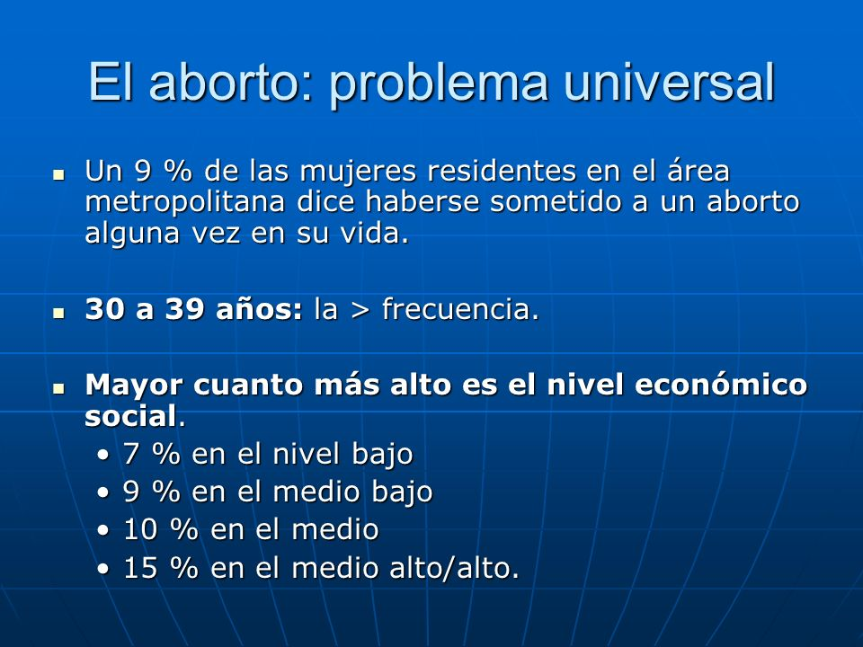 El aborto: problema universal Un 9 % de las mujeres residentes en el área metropolitana dice haberse sometido a un aborto alguna vez en su vida. Un 9