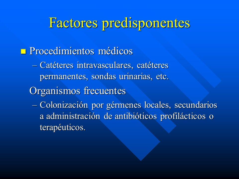 Factores predisponentes Procedimientos médicos Procedimientos médicos –Catéteres intravasculares, catéteres permanentes, sondas urinarias, etc.