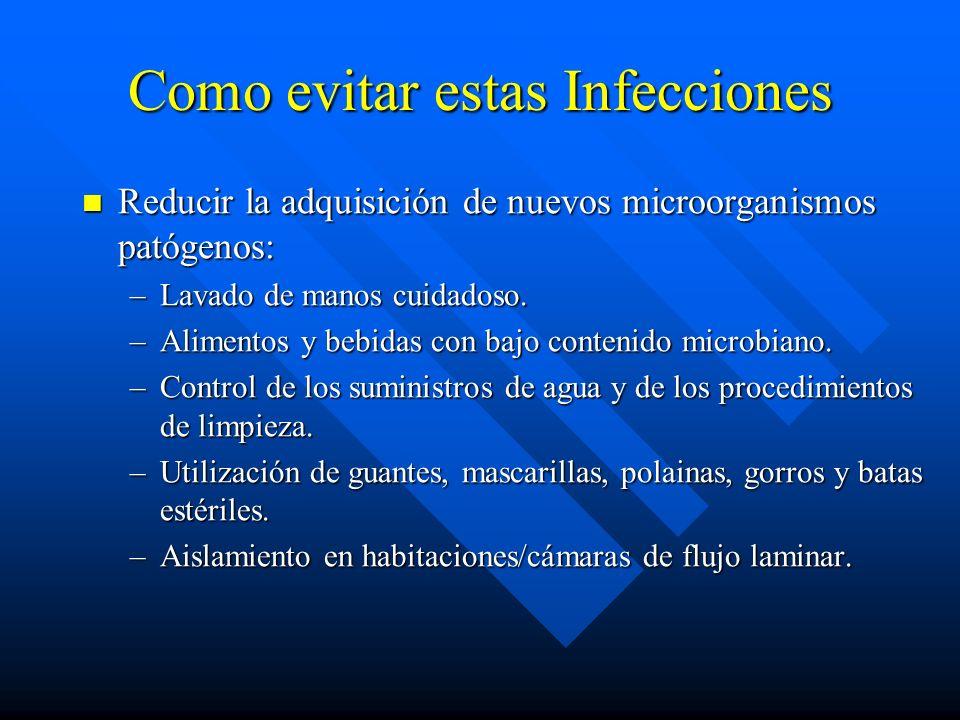 Como evitar estas Infecciones Reducir la adquisición de nuevos microorganismos patógenos: Reducir la adquisición de nuevos microorganismos patógenos: –Lavado de manos cuidadoso.
