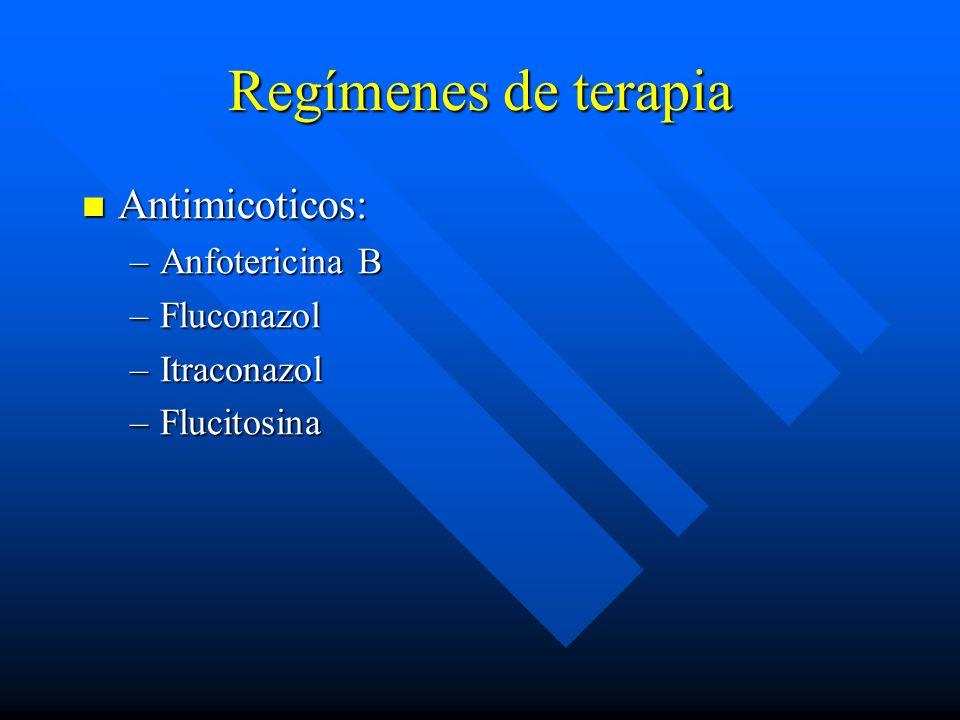 Regímenes de terapia Antimicoticos: Antimicoticos: –Anfotericina B –Fluconazol –Itraconazol –Flucitosina