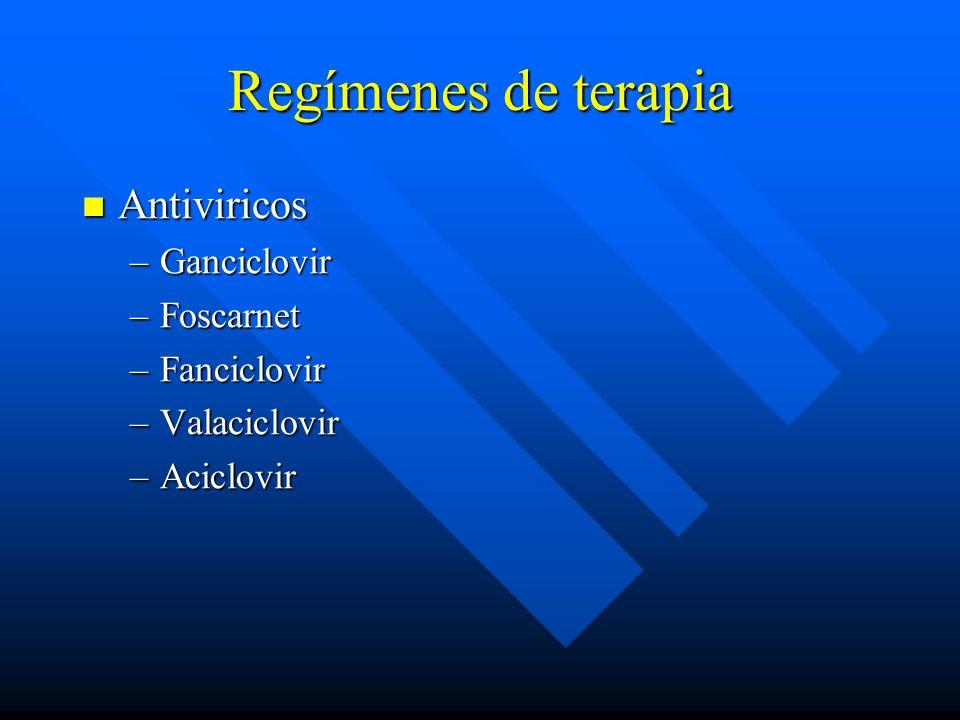 Regímenes de terapia Antiviricos Antiviricos –Ganciclovir –Foscarnet –Fanciclovir –Valaciclovir –Aciclovir