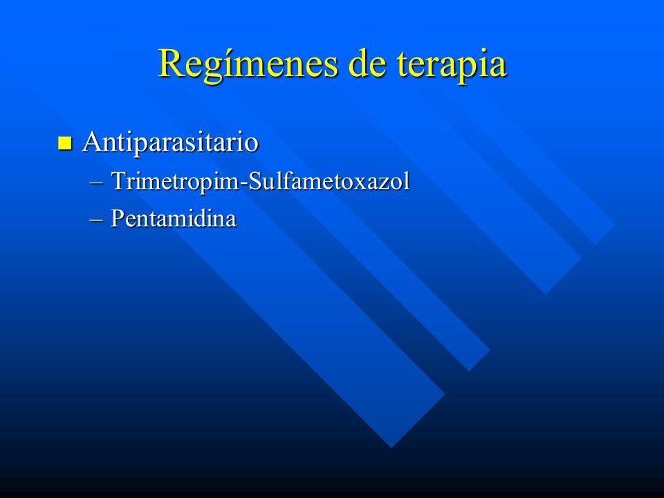 Regímenes de terapia Antiparasitario Antiparasitario –Trimetropim-Sulfametoxazol –Pentamidina