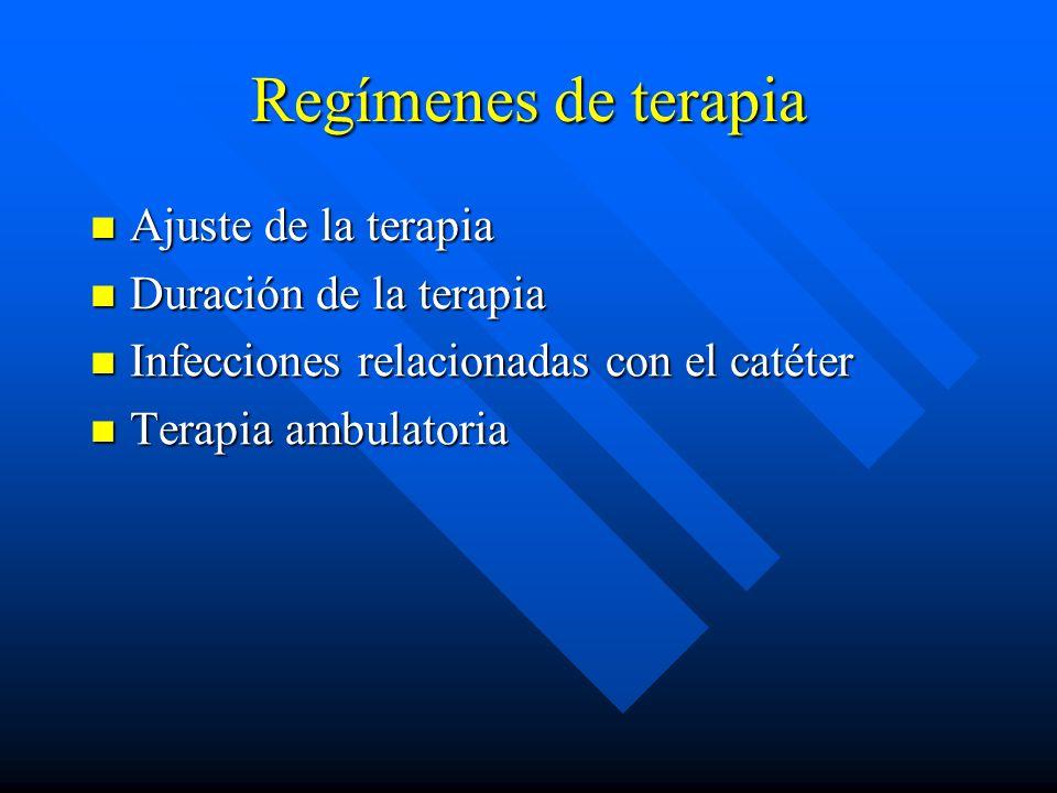Regímenes de terapia Ajuste de la terapia Ajuste de la terapia Duración de la terapia Duración de la terapia Infecciones relacionadas con el catéter Infecciones relacionadas con el catéter Terapia ambulatoria Terapia ambulatoria