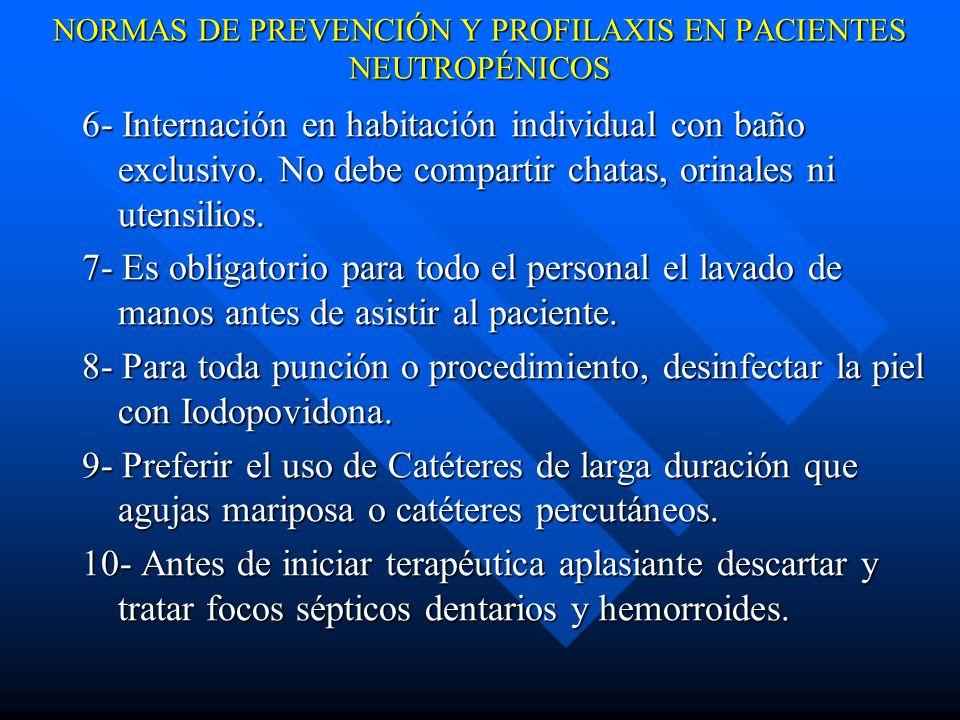 NORMAS DE PREVENCIÓN Y PROFILAXIS EN PACIENTES NEUTROPÉNICOS 11- Efectuar buches con solución de bicarbonato de sodio 4 veces al día.