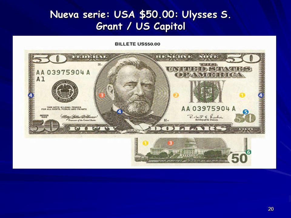 20 Nueva serie: USA $50.00: Ulysses S. Grant / US Capitol