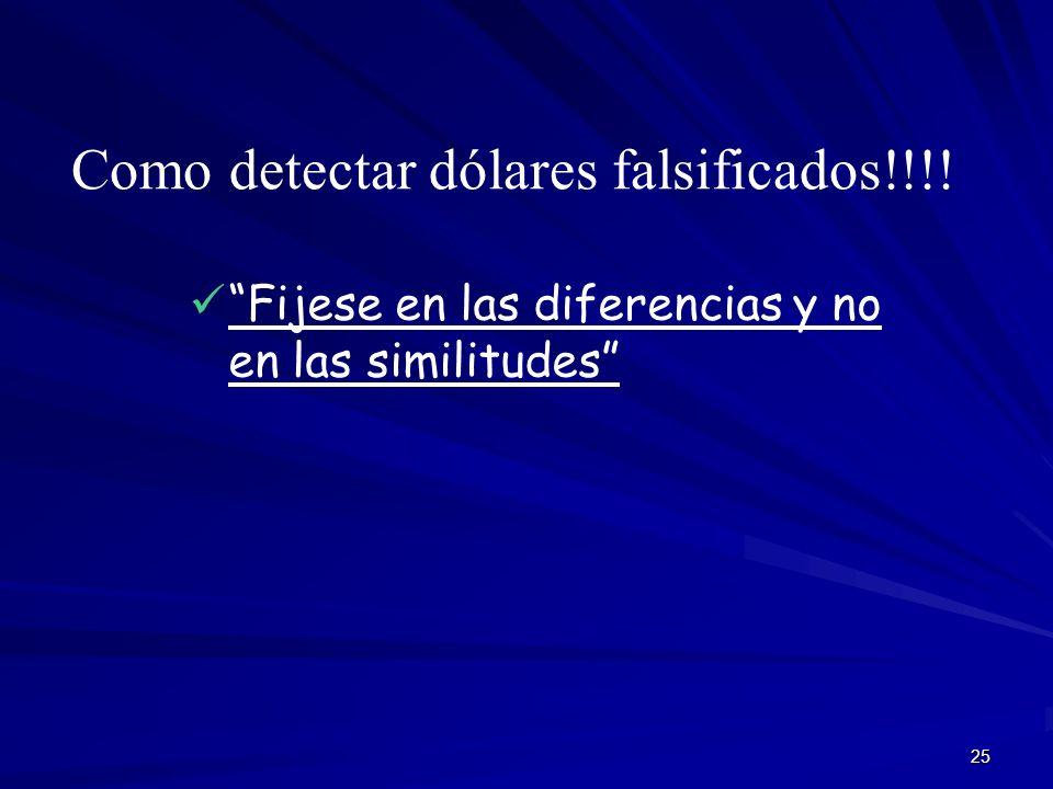 25 Como detectar dólares falsificados!!!! Fijese en las diferencias y no en las similitudes