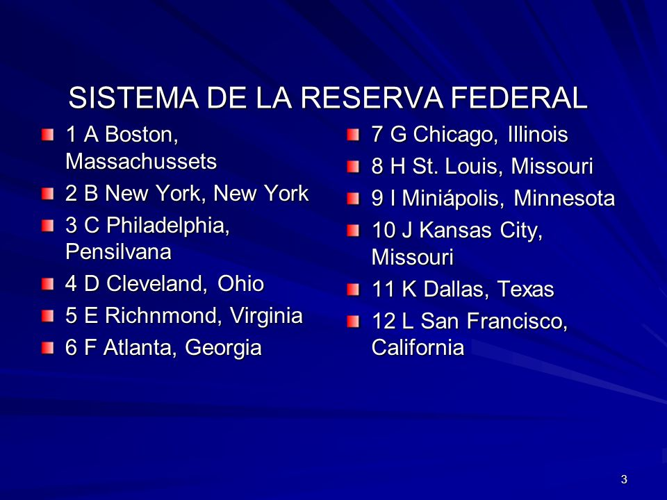 3 SISTEMA DE LA RESERVA FEDERAL 1 A Boston, Massachussets 2 B New York, New York 3 C Philadelphia, Pensilvana 4 D Cleveland, Ohio 5 E Richnmond, Virgi