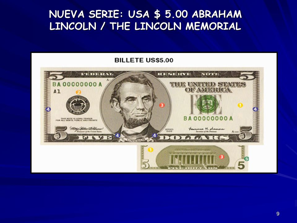 9 NUEVA SERIE: USA $ 5.00 ABRAHAM LINCOLN / THE LINCOLN MEMORIAL