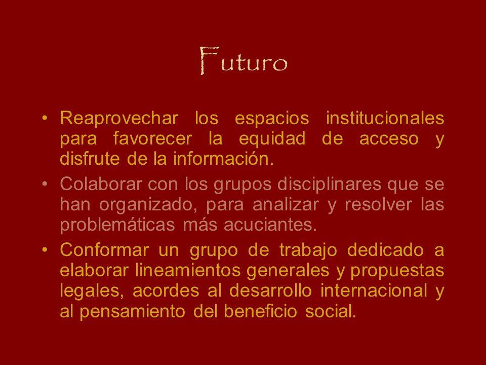 Futuro Reaprovechar los espacios institucionales para favorecer la equidad de acceso y disfrute de la información. Colaborar con los grupos disciplina