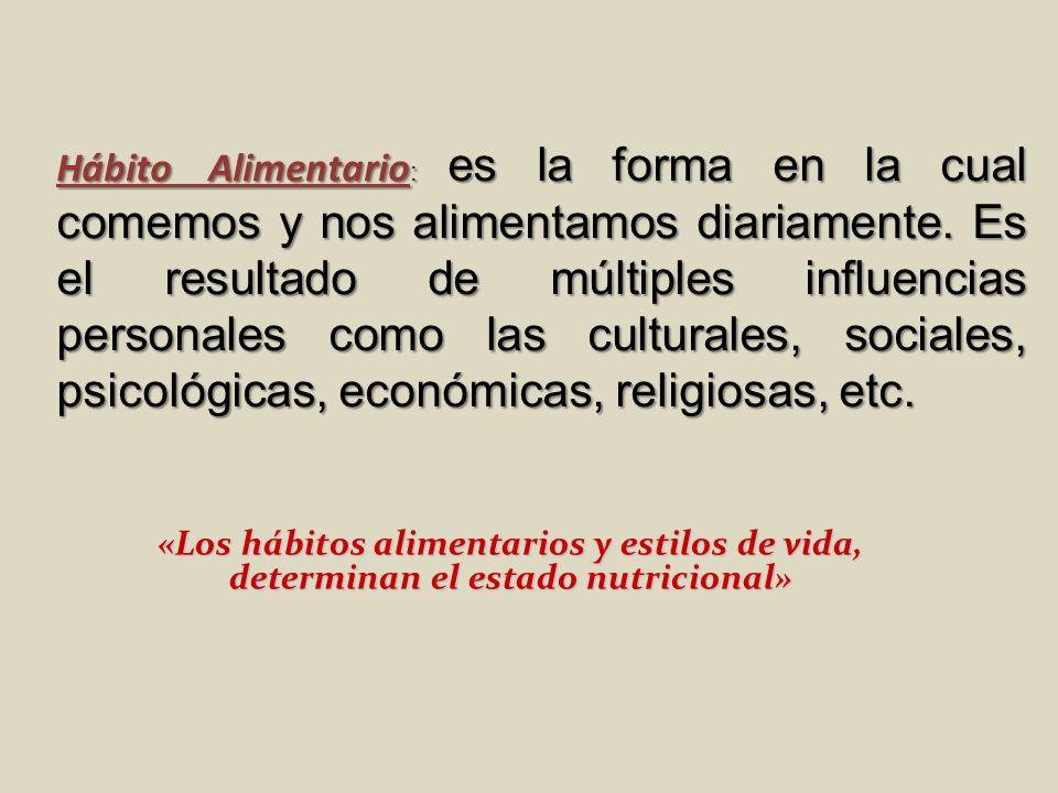 «Los hábitos alimentarios y estilos de vida, determinan el estado nutricional» Hábito Alimentario : es la forma en la cual comemos y nos alimentamos d