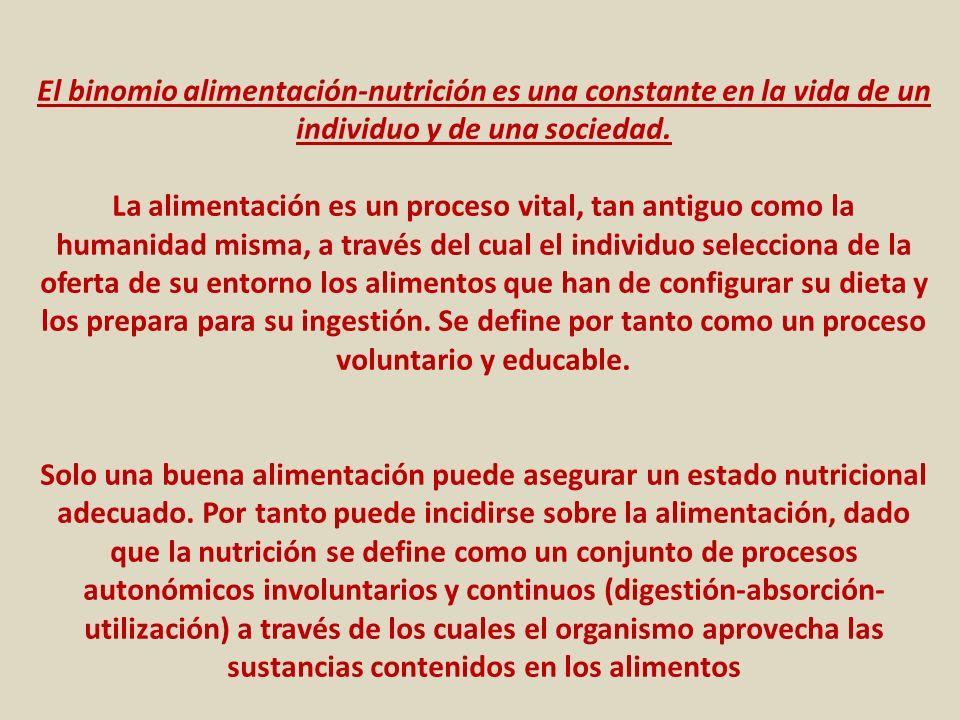 El binomio alimentación-nutrición es una constante en la vida de un individuo y de una sociedad. La alimentación es un proceso vital, tan antiguo como