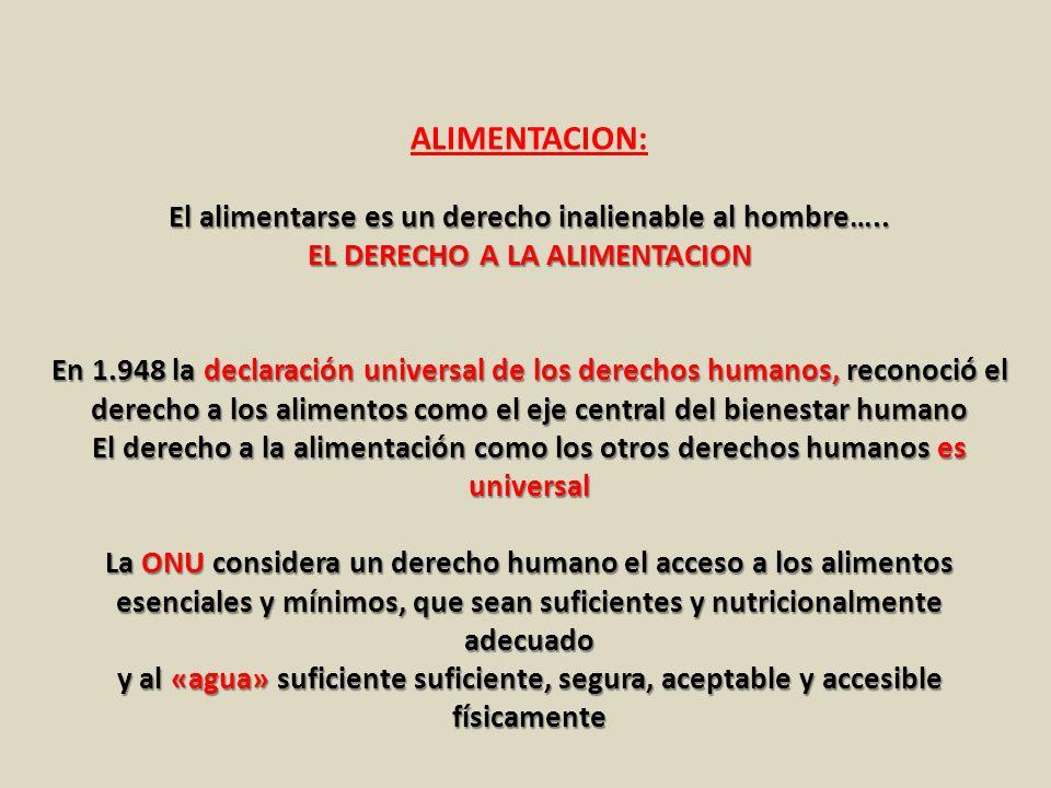 El alimentarse es un derecho inalienable al hombre….. EL DERECHO A LA ALIMENTACION En 1.948 la declaración universal de los derechos humanos, reconoci
