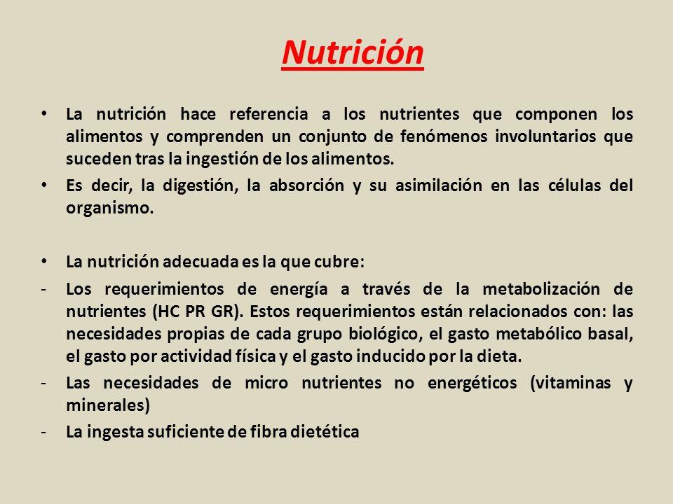 Nutrición La nutrición hace referencia a los nutrientes que componen los alimentos y comprenden un conjunto de fenómenos involuntarios que suceden tra