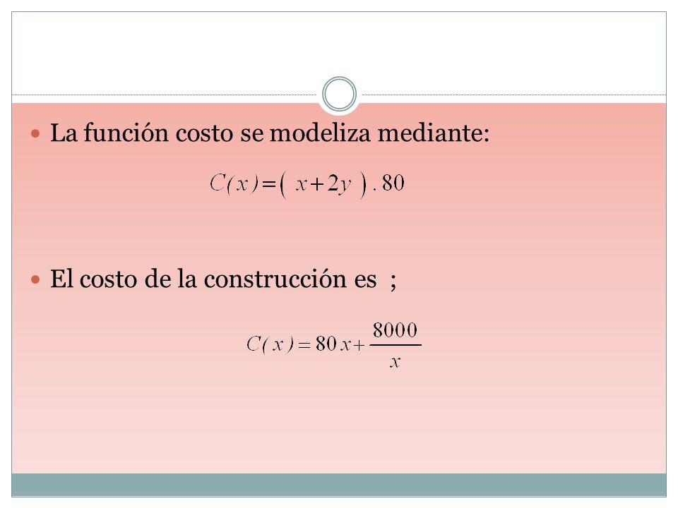 La función costo se modeliza mediante: El costo de la construcción es ;
