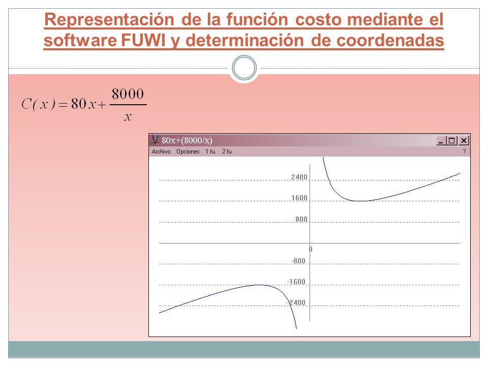 Representación de la función costo mediante el software FUWI y determinación de coordenadas