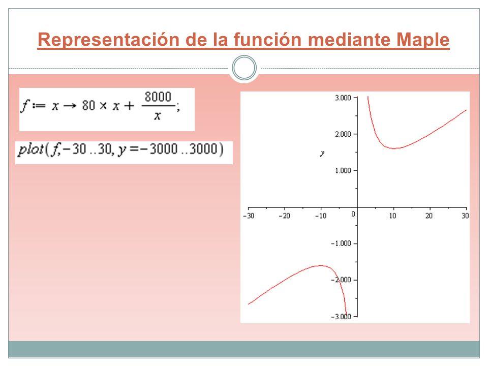 Representación de la función mediante Maple