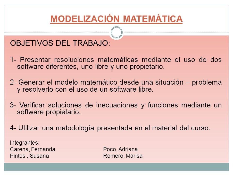 MODELIZACIÓN MATEMÁTICA OBJETIVOS DEL TRABAJO: 1- Presentar resoluciones matemáticas mediante el uso de dos software diferentes, uno libre y uno propi