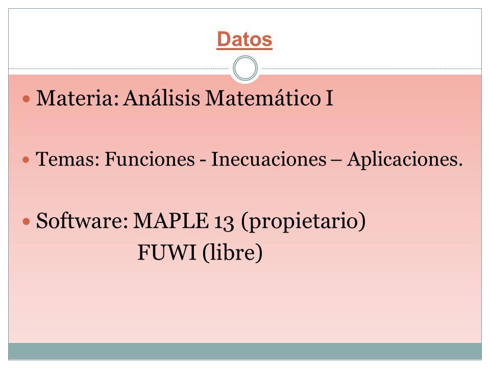 Datos Materia: Análisis Matemático I Temas: Funciones - Inecuaciones – Aplicaciones. Software: MAPLE 13 (propietario) FUWI (libre)