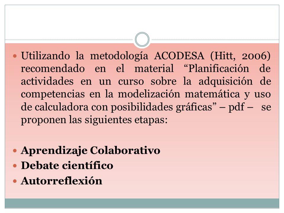 Utilizando la metodología ACODESA (Hitt, 2006) recomendado en el material Planificación de actividades en un curso sobre la adquisición de competencia