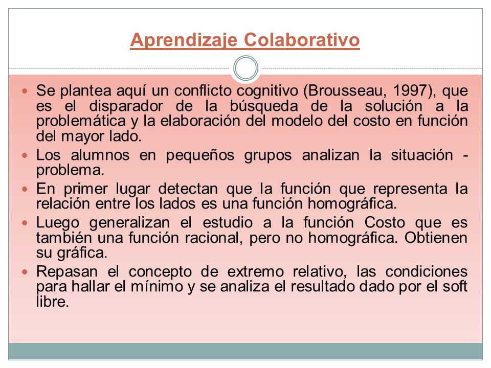 Aprendizaje Colaborativo Se plantea aquí un conflicto cognitivo (Brousseau, 1997), que es el disparador de la búsqueda de la solución a la problemátic