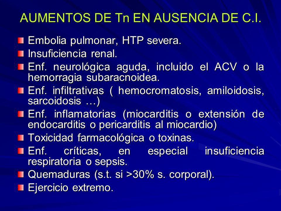 AUMENTOS DE Tn EN AUSENCIA DE C.I. Embolia pulmonar, HTP severa. Insuficiencia renal. Enf. neurológica aguda, incluido el ACV o la hemorragia subaracn