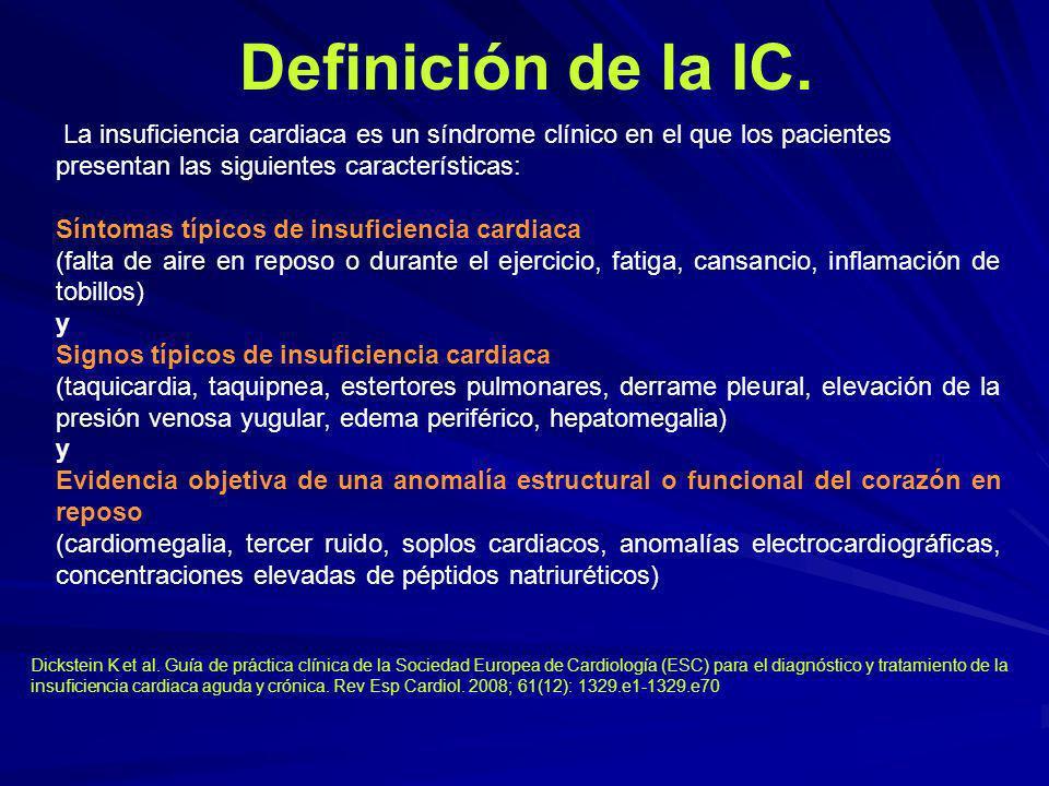 Definición de la IC. La insuficiencia cardiaca es un síndrome clínico en el que los pacientes presentan las siguientes características: Síntomas típic