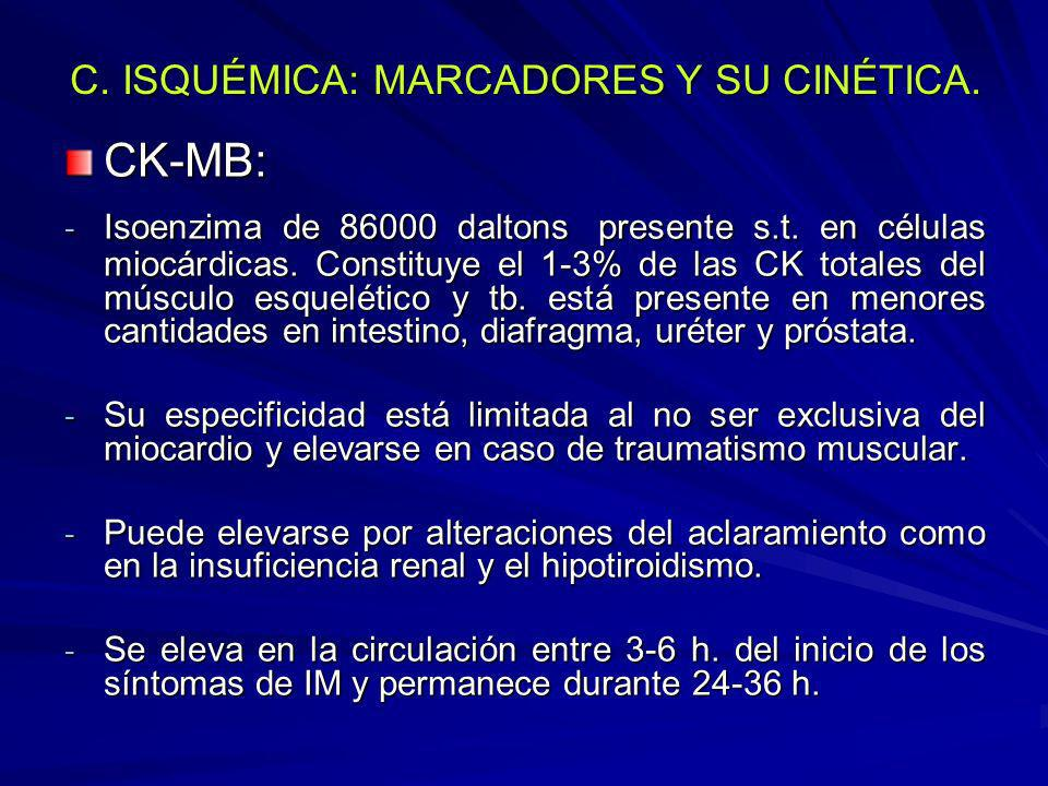 C. ISQUÉMICA: MARCADORES Y SU CINÉTICA. CK-MB: - Isoenzima de 86000 daltons presente s.t. en células miocárdicas. Constituye el 1-3% de las CK totales