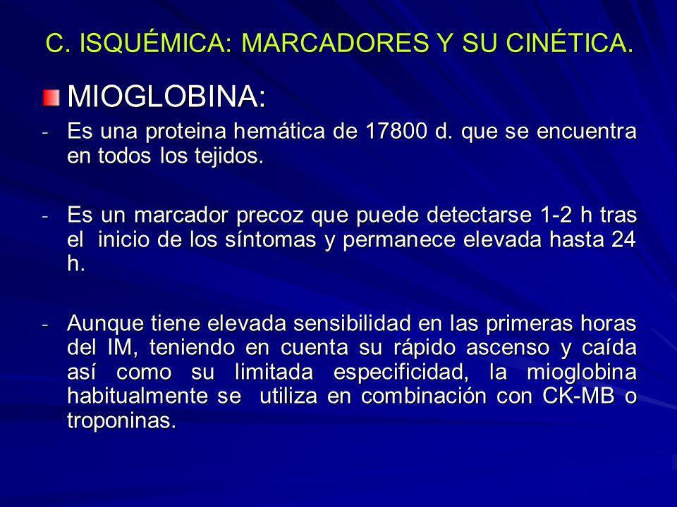 C. ISQUÉMICA: MARCADORES Y SU CINÉTICA. MIOGLOBINA: - Es una proteina hemática de 17800 d. que se encuentra en todos los tejidos. - Es un marcador pre