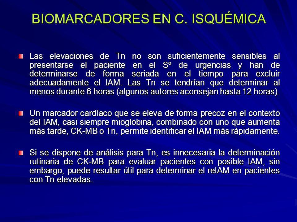 BIOMARCADORES EN C. ISQUÉMICA Las elevaciones de Tn no son suficientemente sensibles al presentarse el paciente en el Sº de urgencias y han de determi