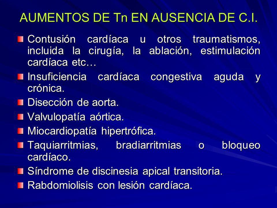 AUMENTOS DE Tn EN AUSENCIA DE C.I. Contusión cardíaca u otros traumatismos, incluida la cirugía, la ablación, estimulación cardíaca etc… Insuficiencia