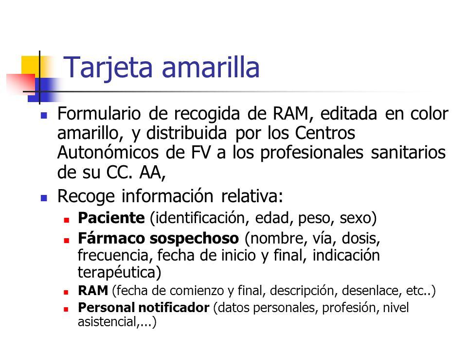 Tarjeta amarilla Formulario de recogida de RAM, editada en color amarillo, y distribuida por los Centros Autonómicos de FV a los profesionales sanitarios de su CC.