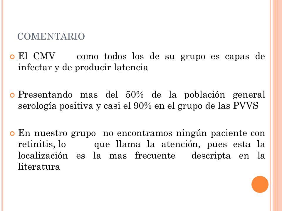 COMENTARIO El CMV como todos los de su grupo es capas de infectar y de producir latencia Presentando mas del 50% de la población general serología pos