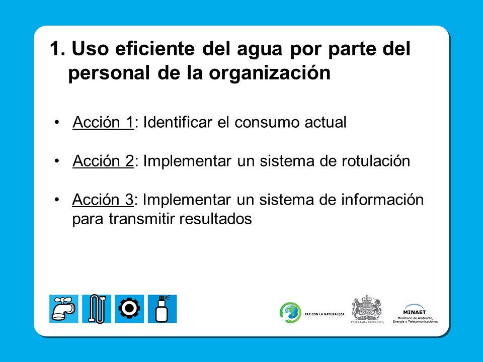 1. Uso eficiente del agua por parte del personal de la organización Acción 1: Identificar el consumo actual Acción 2: Implementar un sistema de rotula