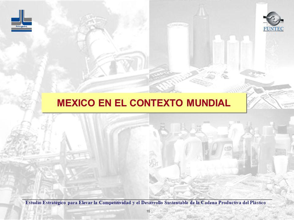 Estudio Estratégico para Elevar la Competitividad y el Desarrollo Sustentable de la Cadena Productiva del Plástico 15 MEXICO EN EL CONTEXTO MUNDIAL