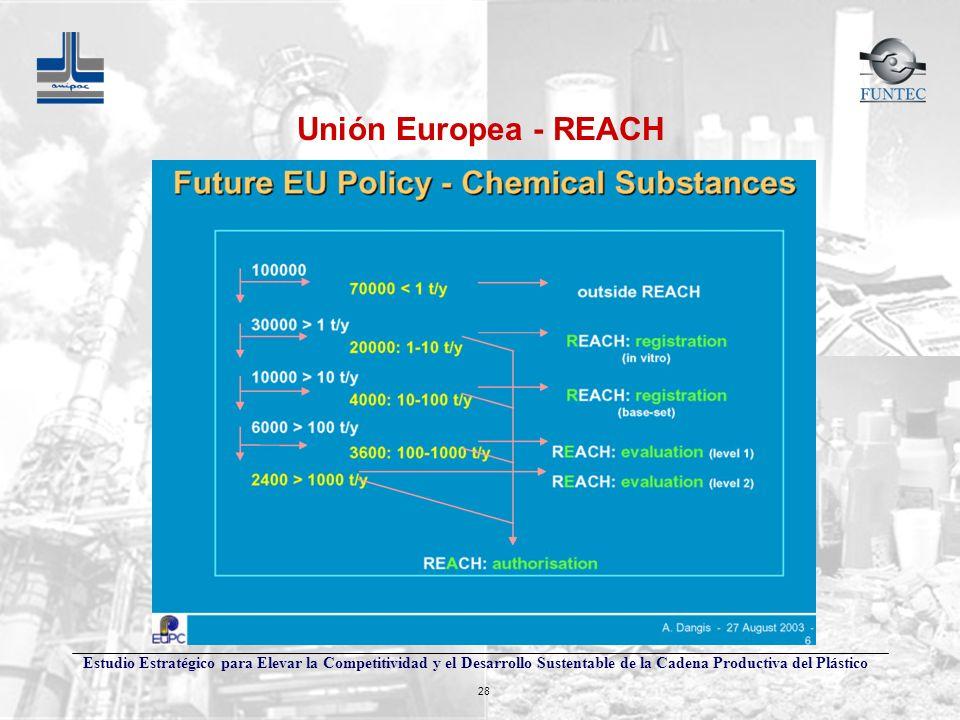 Estudio Estratégico para Elevar la Competitividad y el Desarrollo Sustentable de la Cadena Productiva del Plástico 28 Unión Europea - REACH
