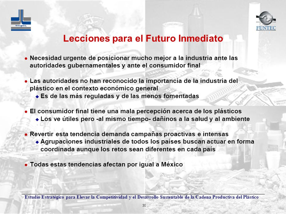Estudio Estratégico para Elevar la Competitividad y el Desarrollo Sustentable de la Cadena Productiva del Plástico 30 Lecciones para el Futuro Inmedia