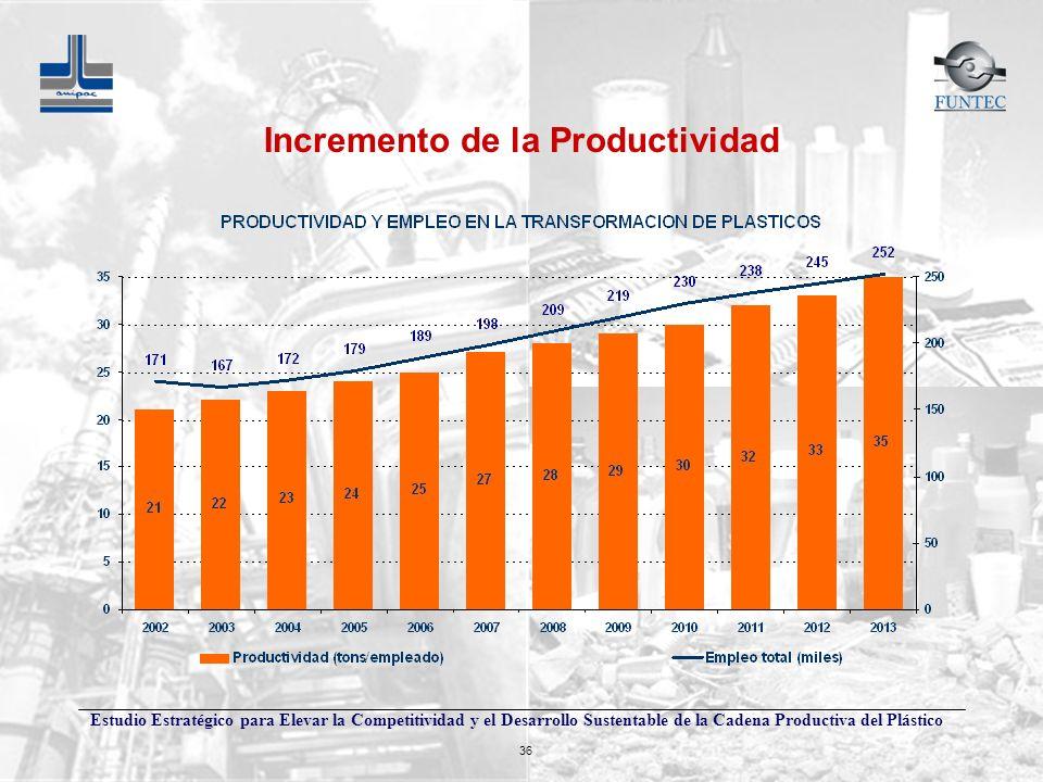 Estudio Estratégico para Elevar la Competitividad y el Desarrollo Sustentable de la Cadena Productiva del Plástico 36 Incremento de la Productividad