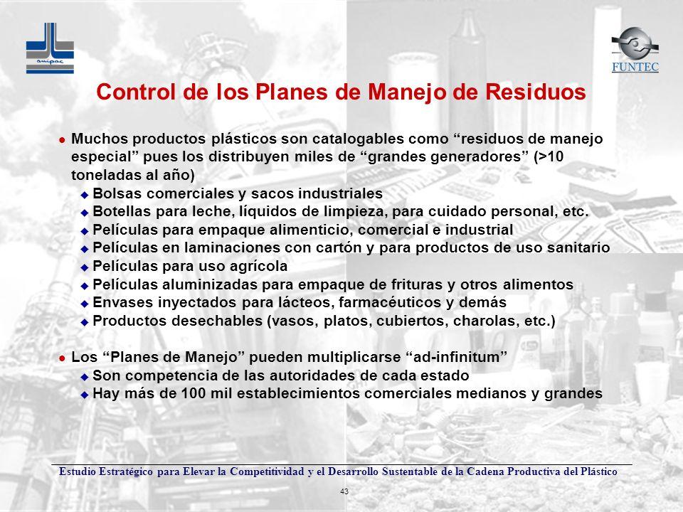 Estudio Estratégico para Elevar la Competitividad y el Desarrollo Sustentable de la Cadena Productiva del Plástico 43 Control de los Planes de Manejo