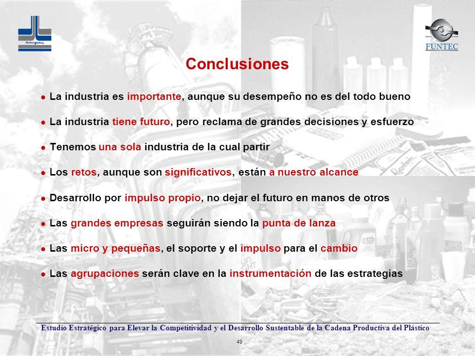 Estudio Estratégico para Elevar la Competitividad y el Desarrollo Sustentable de la Cadena Productiva del Plástico 49 Conclusiones l La industria es i